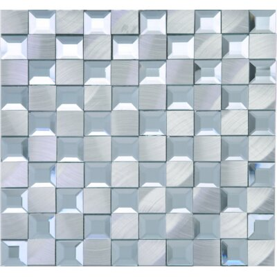 1 x 1 Mixed Material Tile in Silver