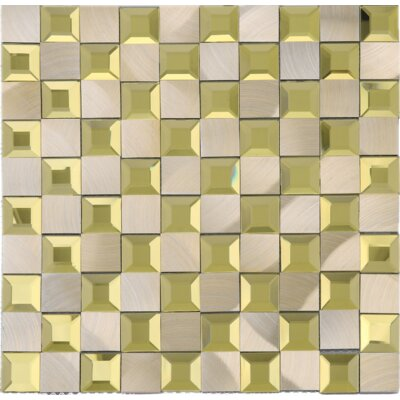 1 x 1 Mixed Material Tile in Gold/Beige