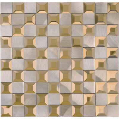 1 x 1 Mixed Material Tile in Gold/Gray