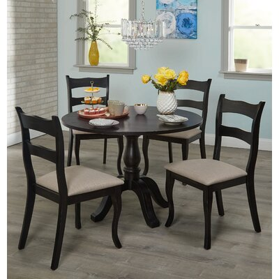 Heslin 5 Piece Dining Set Color: Black