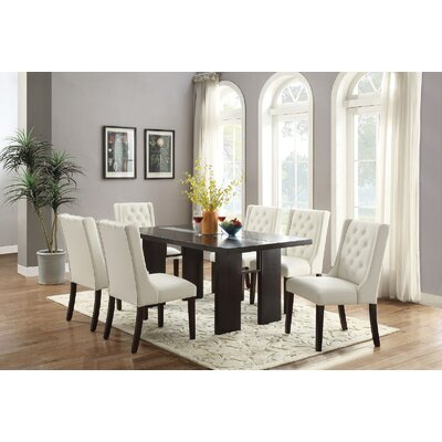 Melgar 7 Piece Dining Set Chair Color: White
