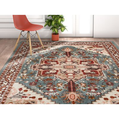 Ceri Vintage Authentic Medallion Distressed Blue Area Rug Rug Size: Rectangle 53 x 73