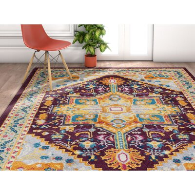 Ceri Vintage Authentic Medallion Distressed Purple Area Rug Rug Size: Rectangle 53 x 73