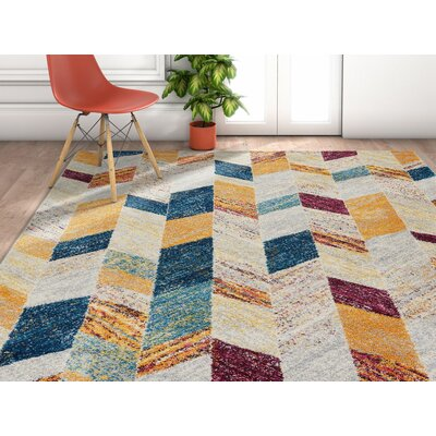 Angie Gray/Yellow Area Rug Rug Size: Rectangle 33 x 47
