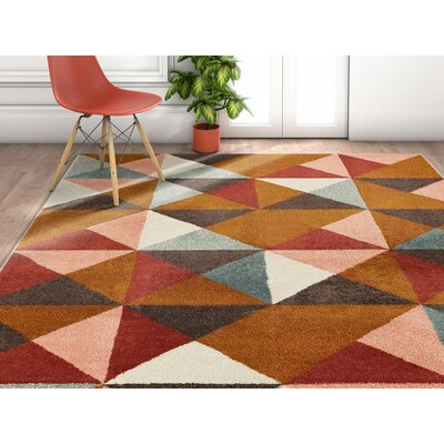Camren Geometric Triangles Brown/Gray Area Rug Rug Size: Rectangle 710 x 106