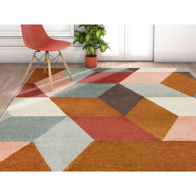 Camren Abstract Geometric Shapes Brown/Gray Area Rug Rug Size: Rectangle 53 x 73
