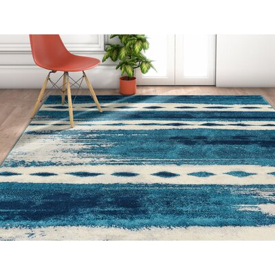 Redus Abstract Brush Strokes Blue Area Rug Rug Size: Rectangle 53 x 73