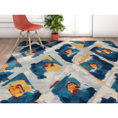 Angie Ikat Moroccan Trellis Blue/Gray Area Rug Rug Size: Rectangle 710 x 106