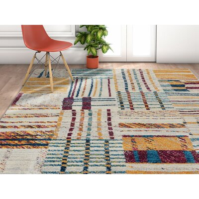 Angie Geometric Lines Squares Gray/Yellow Area Rug Rug Size: Rectangle 710 x 106