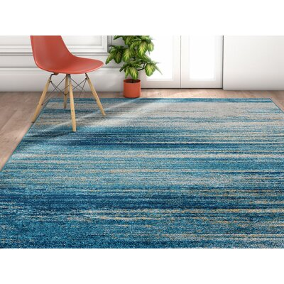 Angie Abstract Scandinavian Brush Strokes Blue/Gray Area Rug Rug Size: Rectangle 33 x 47