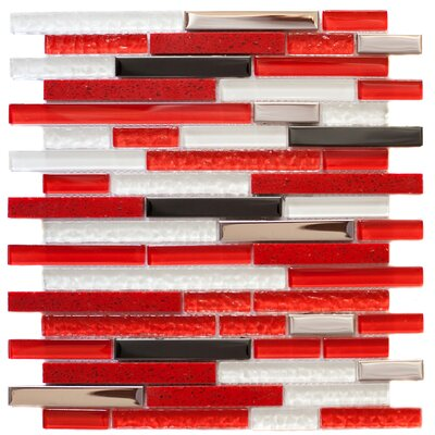 Random Sized 12.25 x 0.32 Glass and Steel Mosaic Tile in White/Red