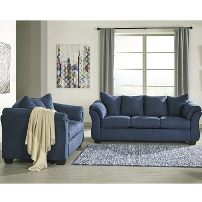 Parthena 2 Piece Living Room Set Upholstery: Blue