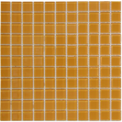 Crystal 1 x 1 Glass Mosaic Tile in Orange