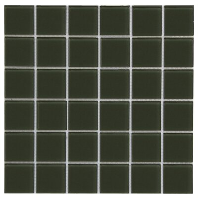 Crystal 2 x 2 Glass Mosaic Tile in Dark Oliva