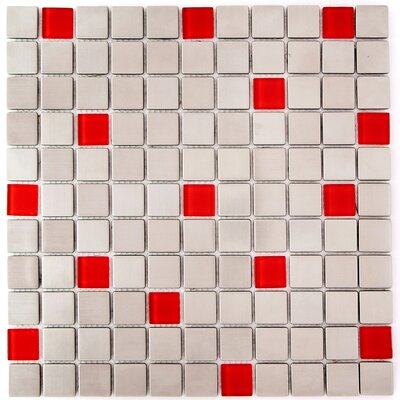 1 x 1 Glass and Natural Stone Mosaic Tile in Steel/Red