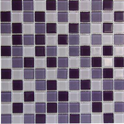 Miscellaneous 1 x 1 Glass Mosaic Tile in Purple/White
