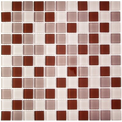 Miscellaneous 1 x 1 Glass Mosaic Tile in Cofee