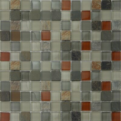 1 x 1 Glass and Natural Stone Mosaic Tile in Beige/Gray/Red