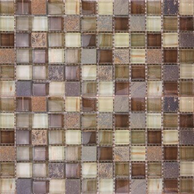 1 x 1 Glass and Natural Stone Mosaic Tile in Brown/Gray