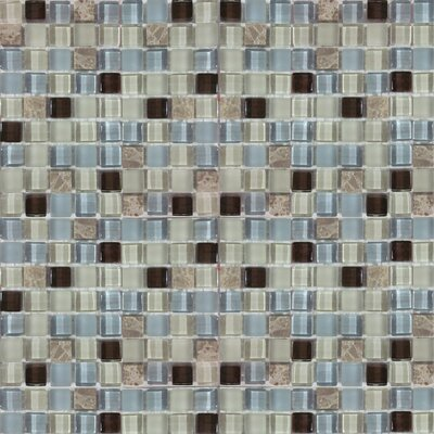 Minor 1 x 1 Glass and Natural Stone Mosaic Tile in Beige/Light Blue