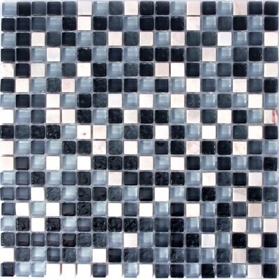 Minor 1 x 1 Glass and Natural Stone Mosaic Tile in Black/Blue