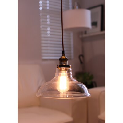 Hedge Industrial 1-Light Inverted Pendant Shade Color: Clear