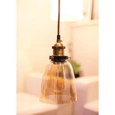 Hedge Industrial 1-Light Mini Pendant Shade Color: Amber