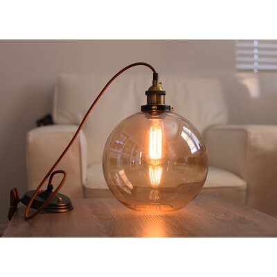 Hedge Industrial 1-Light Globe Pendant Shade Color: Amber