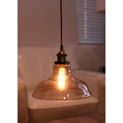 Hedge Industrial 1-Light Inverted Pendant Shade Color: Amber