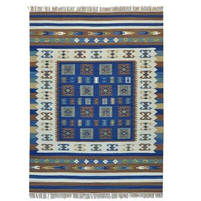 Flat Weave Anatolian Kilim Oriental Hand-Knotted Blue Area Rug
