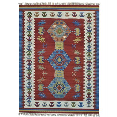 Reversible Anatolian Kilim Oriental Hand-Knotted Red Area Rug