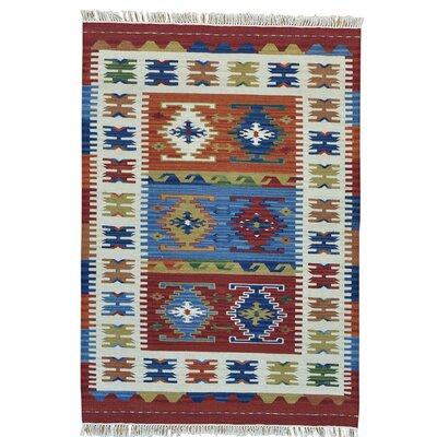 Reversible Flat Weave Anatolian Kilim Oriental Hand-Knotted Maroon/Cream Area Rug
