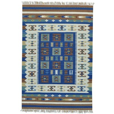 Flat Weave Anatolian Kilim Reversible Oriental Hand-Knotted Blue/Cream Area Rug