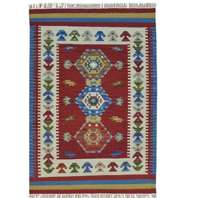 Flat Weave Anatolian Kilim Oriental Hand-Knotted Red Area Rug
