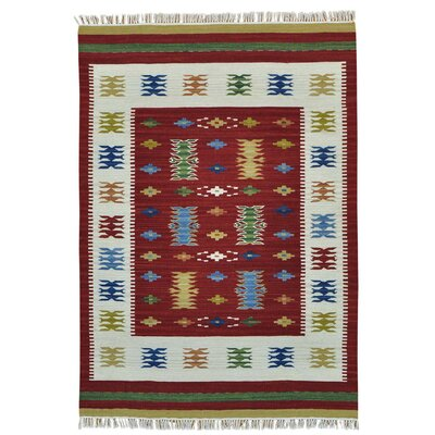 Reversible Anatolian Kilim Flat Weave Oriental Hand-Knotted Red Area Rug