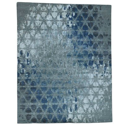 Award Winning Honeycomb Oriental Hand-Knotted Silk Gray Area Rug
