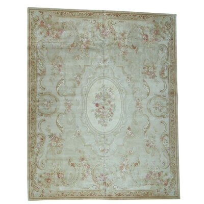 Plush Charles European Savonnerie Hand-Knotted Ivory Area Rug