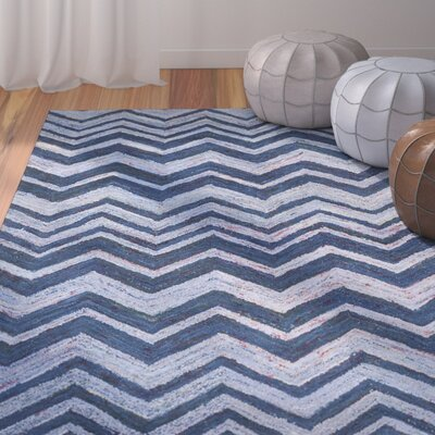 Anaheim Hand-Woven Cotton Blue Area Rug Rug Size: Rectangle 6 x 9