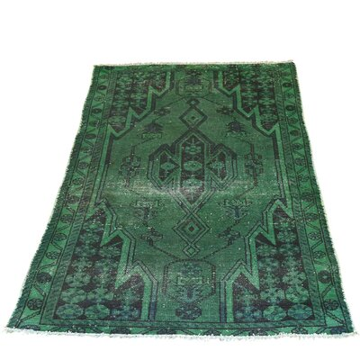 One-of-a-Kind Grasmere Overdyed Mazlaghan Vintage Hand-Knotted Area Rug