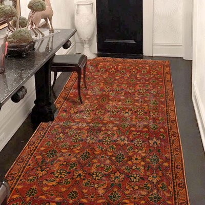 One-of-a-Kind Lear Vintage Overdyed Sarouk Mir Hand-Knotted Area Rug