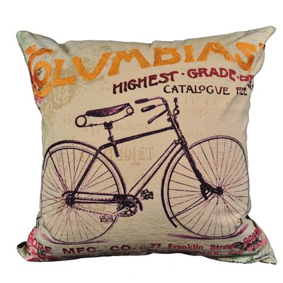 Hilyard Bike Cotton Throw Pillow