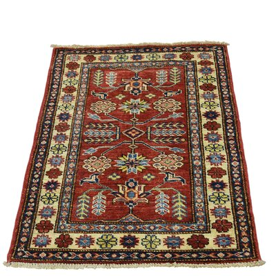 One-of-a-Kind Tillotson Super Geometric Oriental Hand-Knotted Area Rug