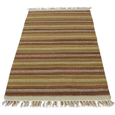 Flat Weave Striped Kilim Oriental Hand-Knotted Wool Light Brown/Mustard Area Rug