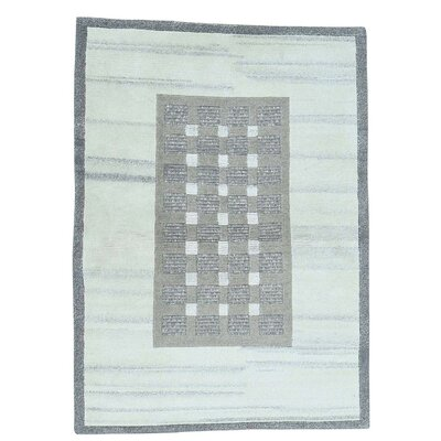 One-of-a-Kind Mebane Plush Oriental Hand-Knotted Gray Area Rug