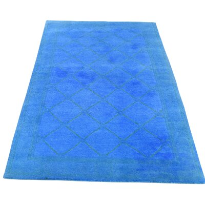 Overdyed Nepali Oriental Hand-Knotted Silk Blue Area Rug