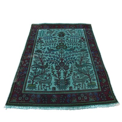 One-of-a-Kind Greenawalt Overdyed Birds of Paradise Worn Hand-Knotted Area Rug
