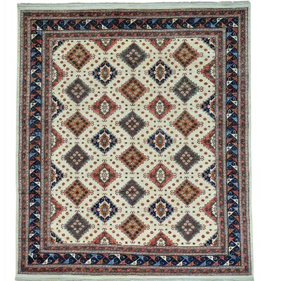 Repetitive Afghan Ersari Hand-Knotted Ivory Area Rug