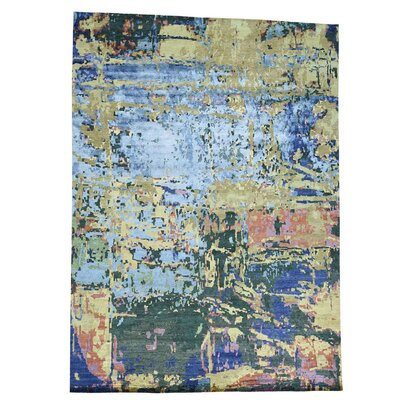Abstract Hand-Knotted Silk Light Blue/Dark Blue Area Rug