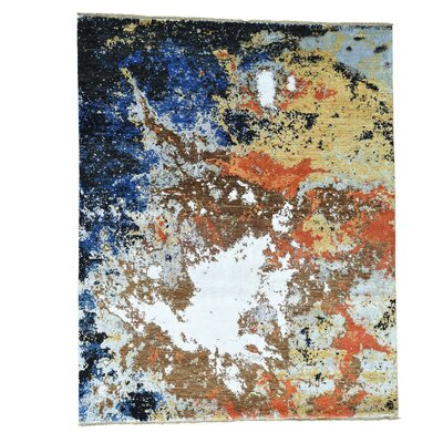 Abstract Ghazni Oriental Hand-Knotted Silk Blue/Brown Area Rug