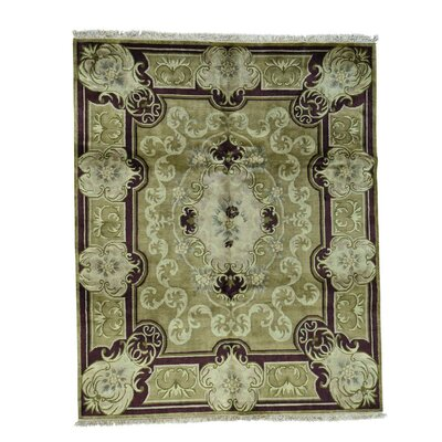 European Nepali Oriental Hand-Knotted Green Area Rug